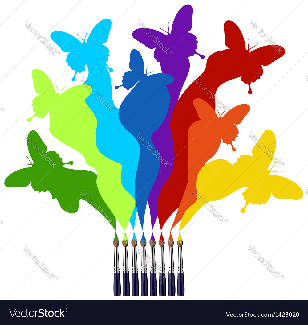 Paint brushes and colored butterflies rainbow vector | Price: 1 Credit (USD $1)