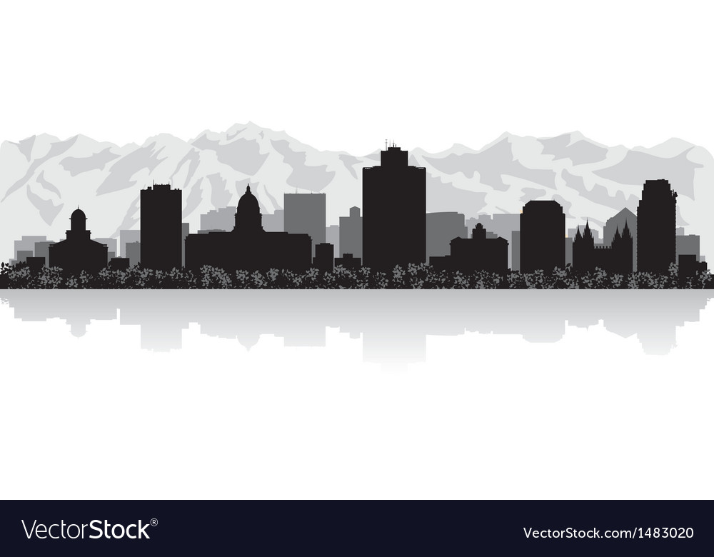 Salt lake city usa skyline silhouette vector | Price: 1 Credit (USD $1)
