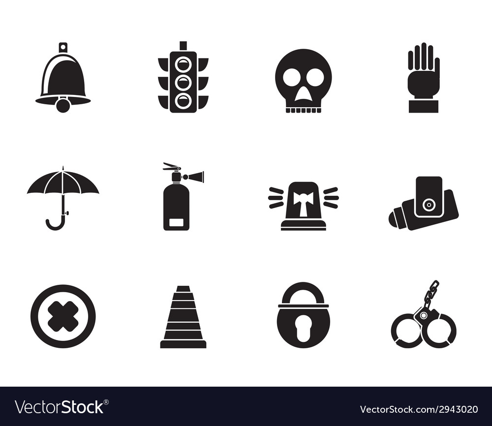 Silhouette surveillance and security icons vector | Price: 1 Credit (USD $1)