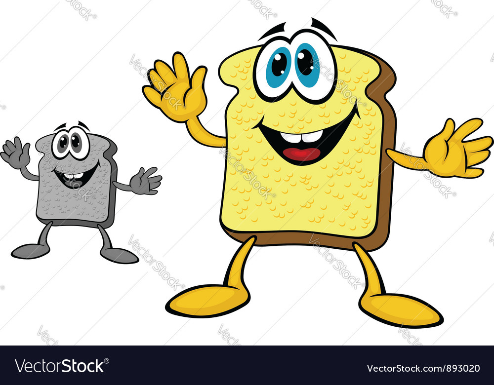 Smiling breakfast toast of bread vector | Price: 1 Credit (USD $1)