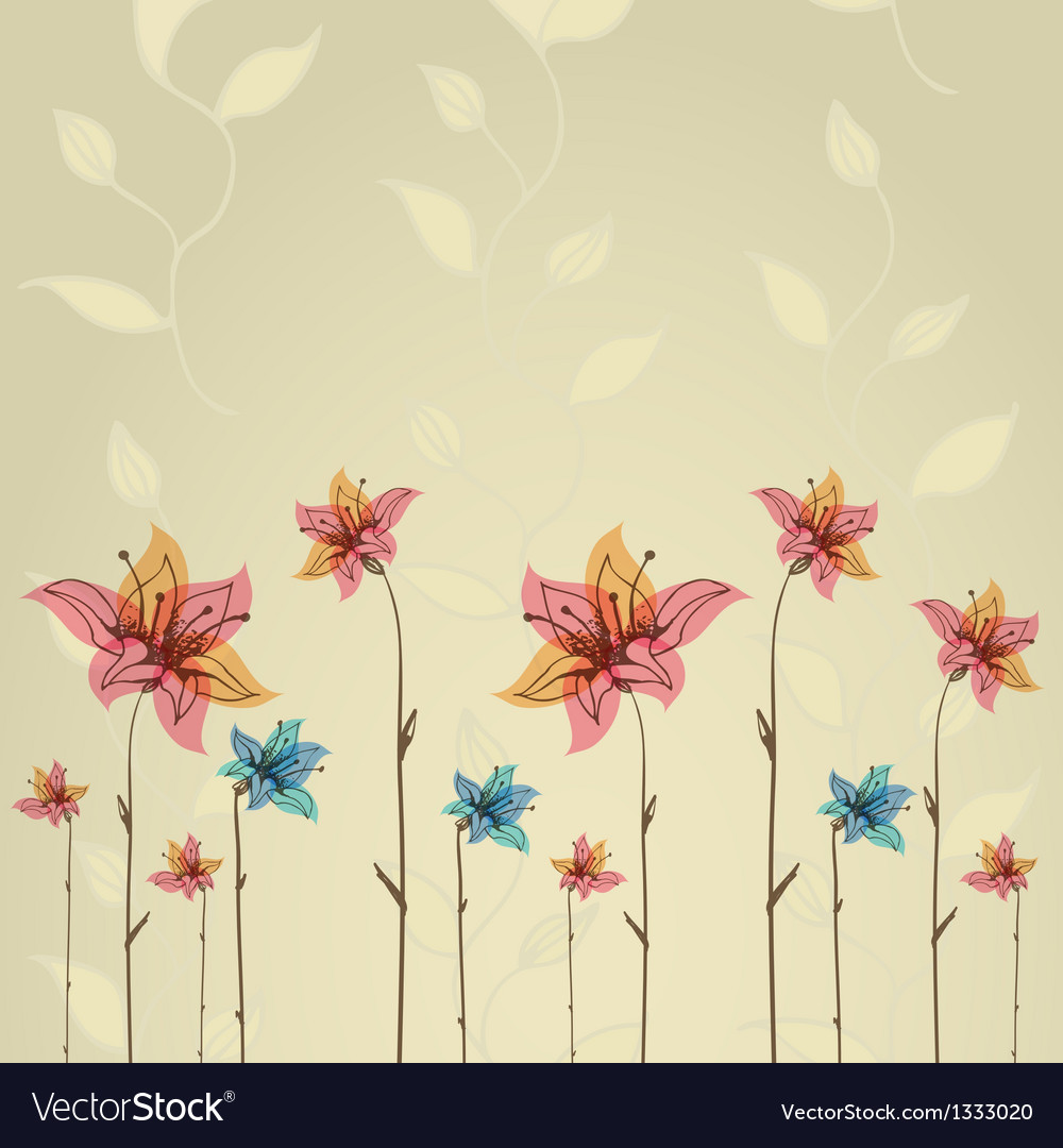 Spring or summer flower greeting card vector | Price: 1 Credit (USD $1)