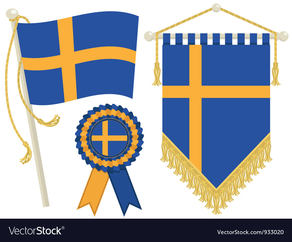 Sweden flags vector | Price: 1 Credit (USD $1)