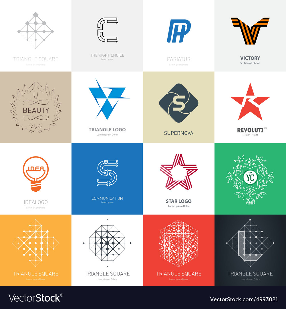 Big set of logos with stars letters lamp maze and vector
