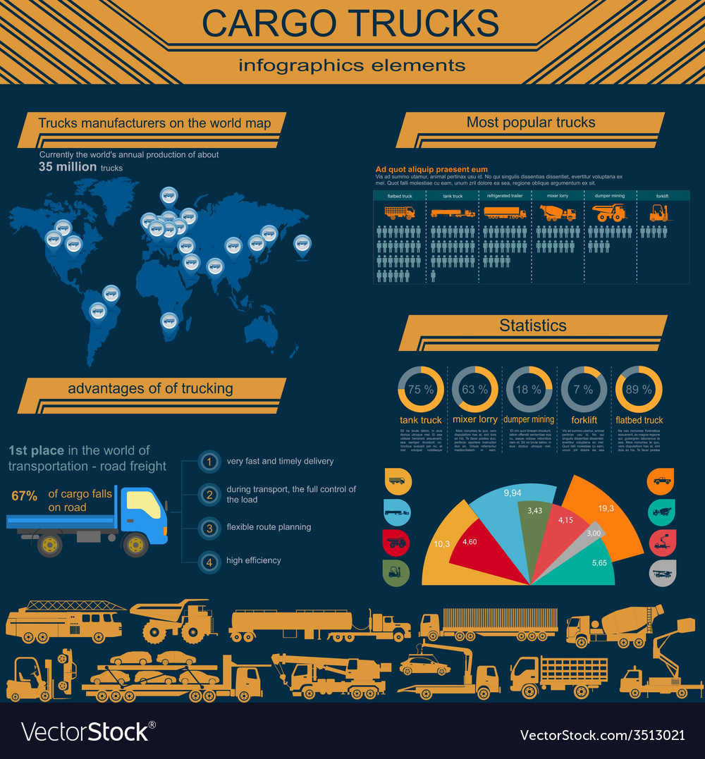 Cargo transportation infographics trucks lorry vector | Price: 1 Credit (USD $1)