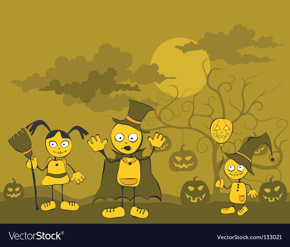 Children against tree vector | Price: 1 Credit (USD $1)