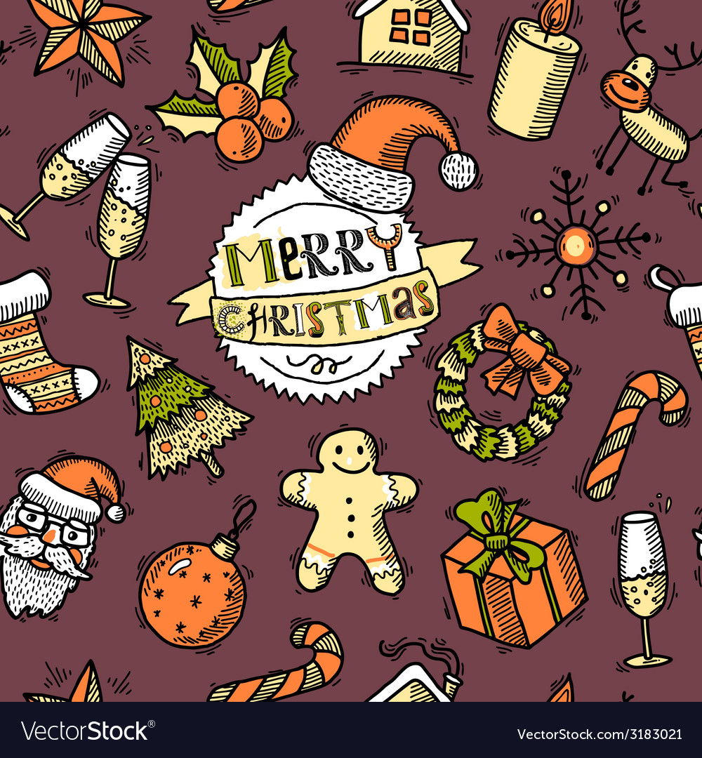 Christmas colored seamless pattern vector | Price: 1 Credit (USD $1)