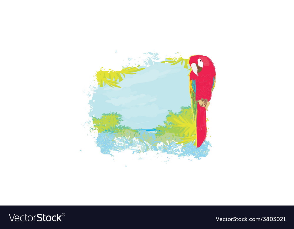Colourful parrot bird sitting on the perch on the vector | Price: 1 Credit (USD $1)