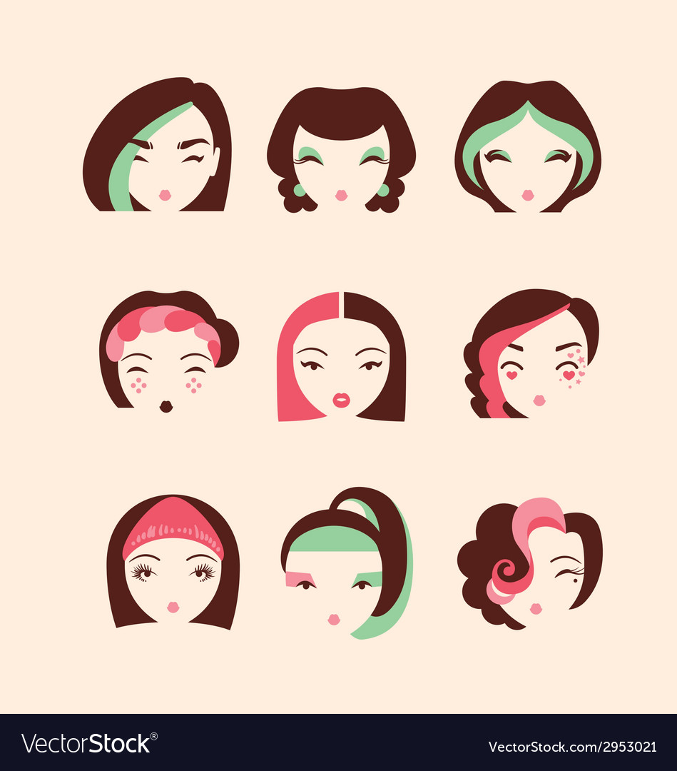 Fashion girls with make up and hairstyles vector | Price: 1 Credit (USD $1)