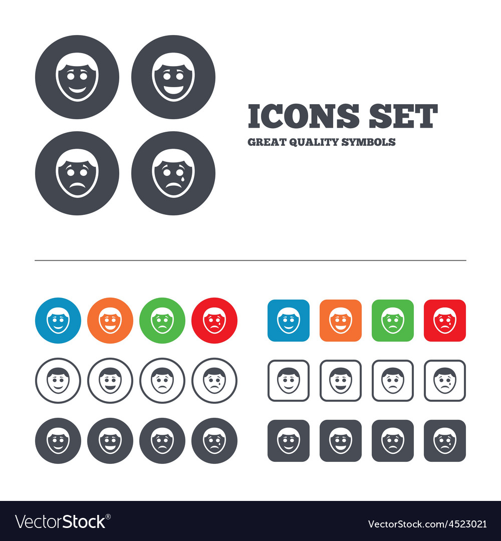 Human smile face icons happy sad cry vector | Price: 1 Credit (USD $1)