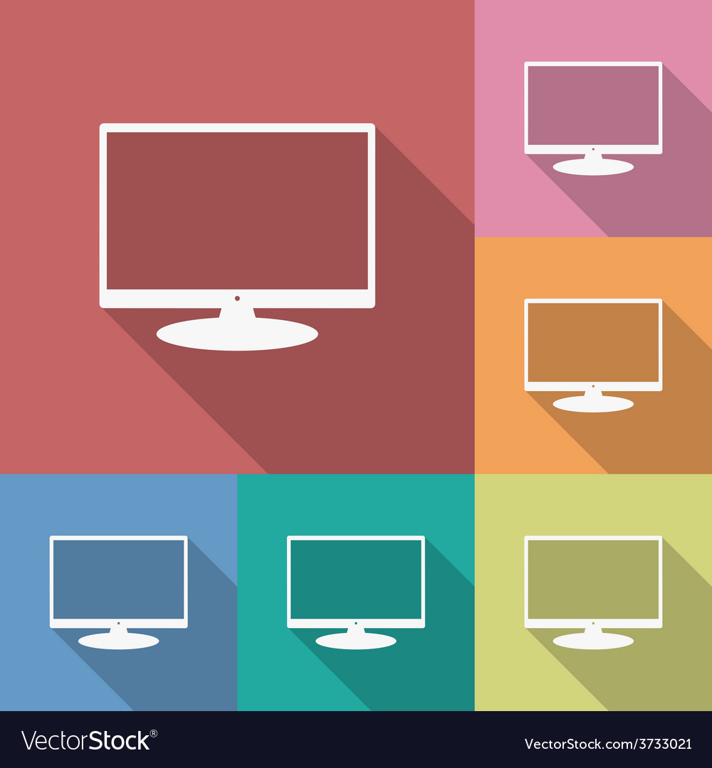 Icon of monitor flat style long shadow vector | Price: 1 Credit (USD $1)