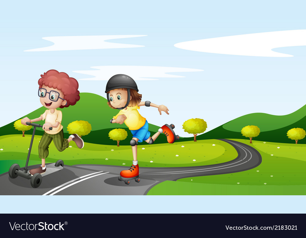 Kids playing at the road vector | Price: 1 Credit (USD $1)