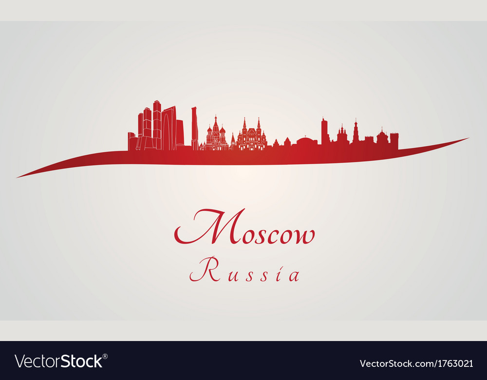 Moscow skyline in red vector | Price: 1 Credit (USD $1)