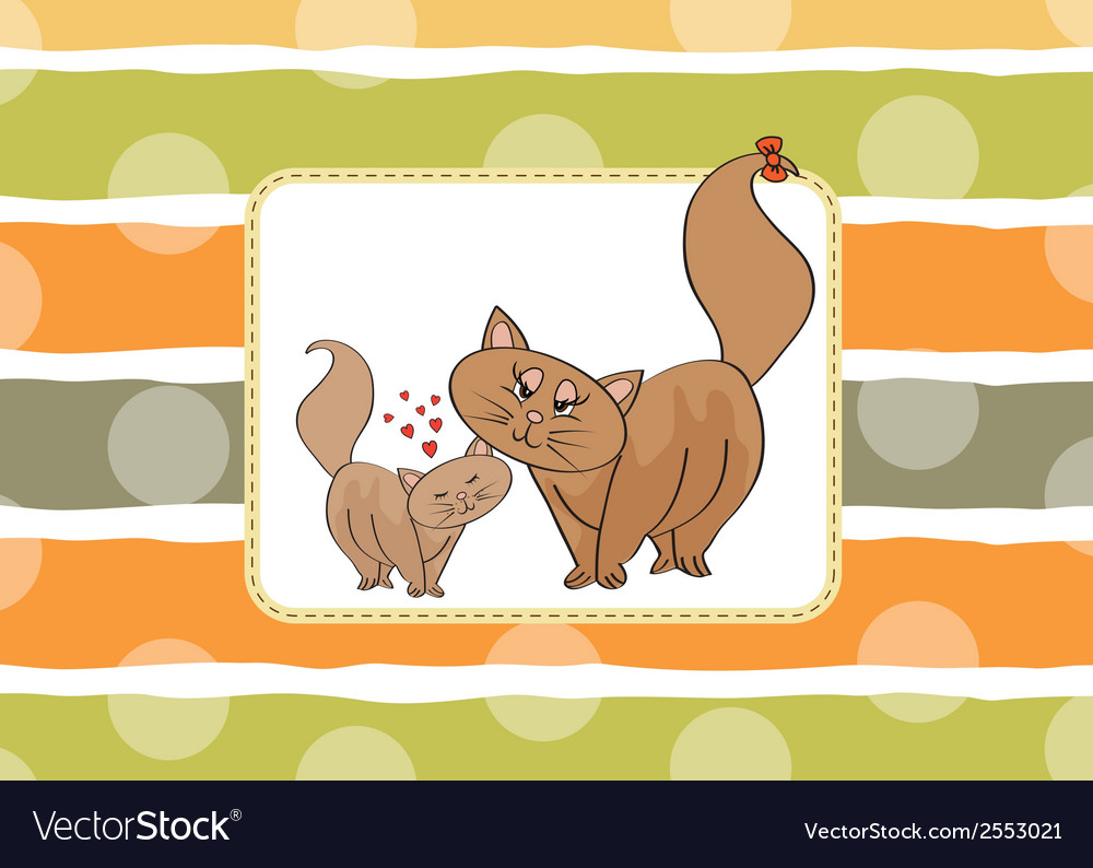 New baby kitten with his mother vector | Price: 1 Credit (USD $1)