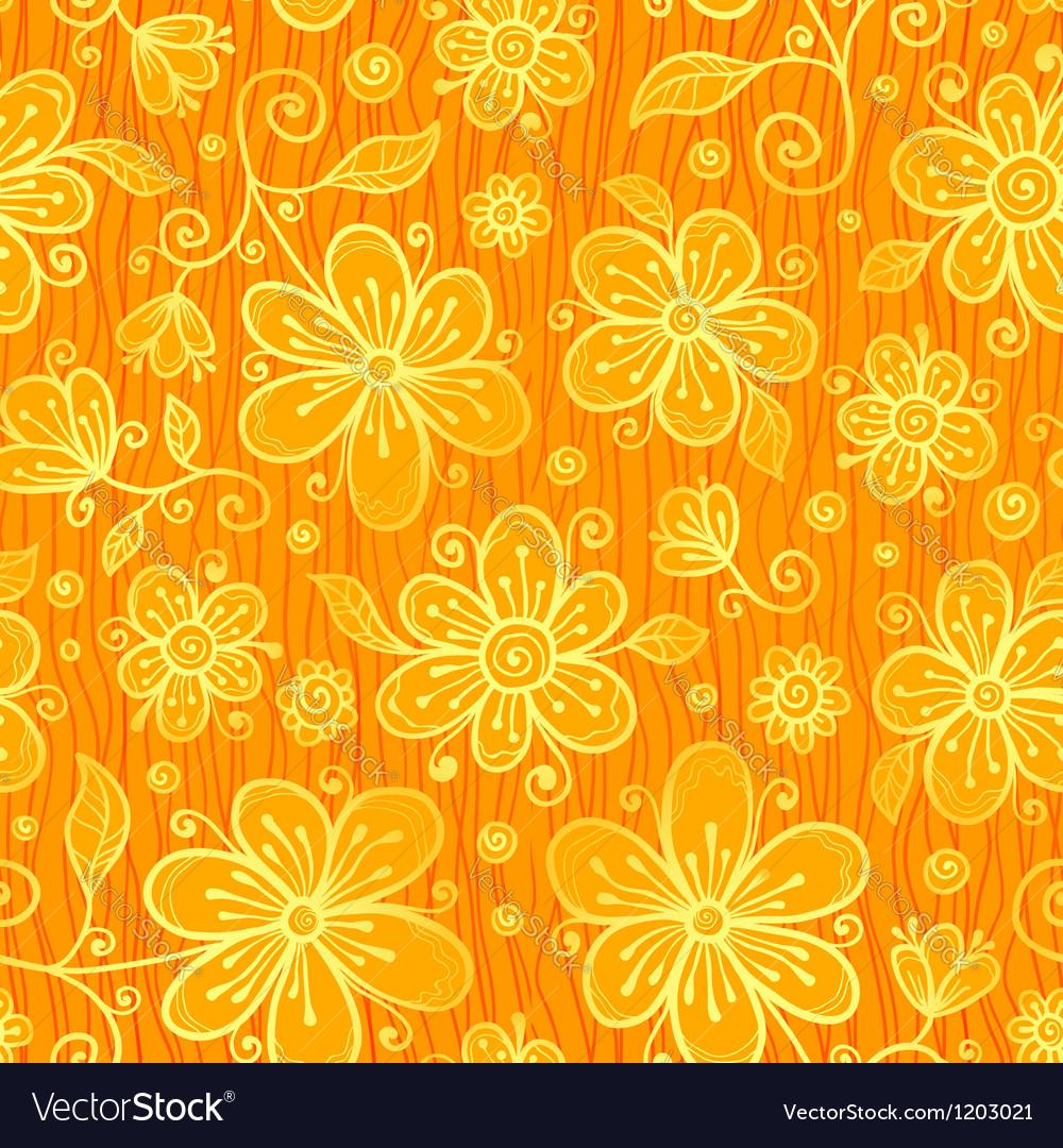 Orange doodle flowers ornate seamless pattern vector | Price: 1 Credit (USD $1)
