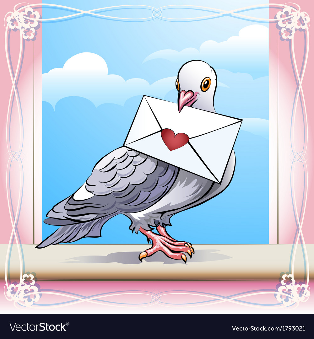 Pigeon with letter vector | Price: 1 Credit (USD $1)
