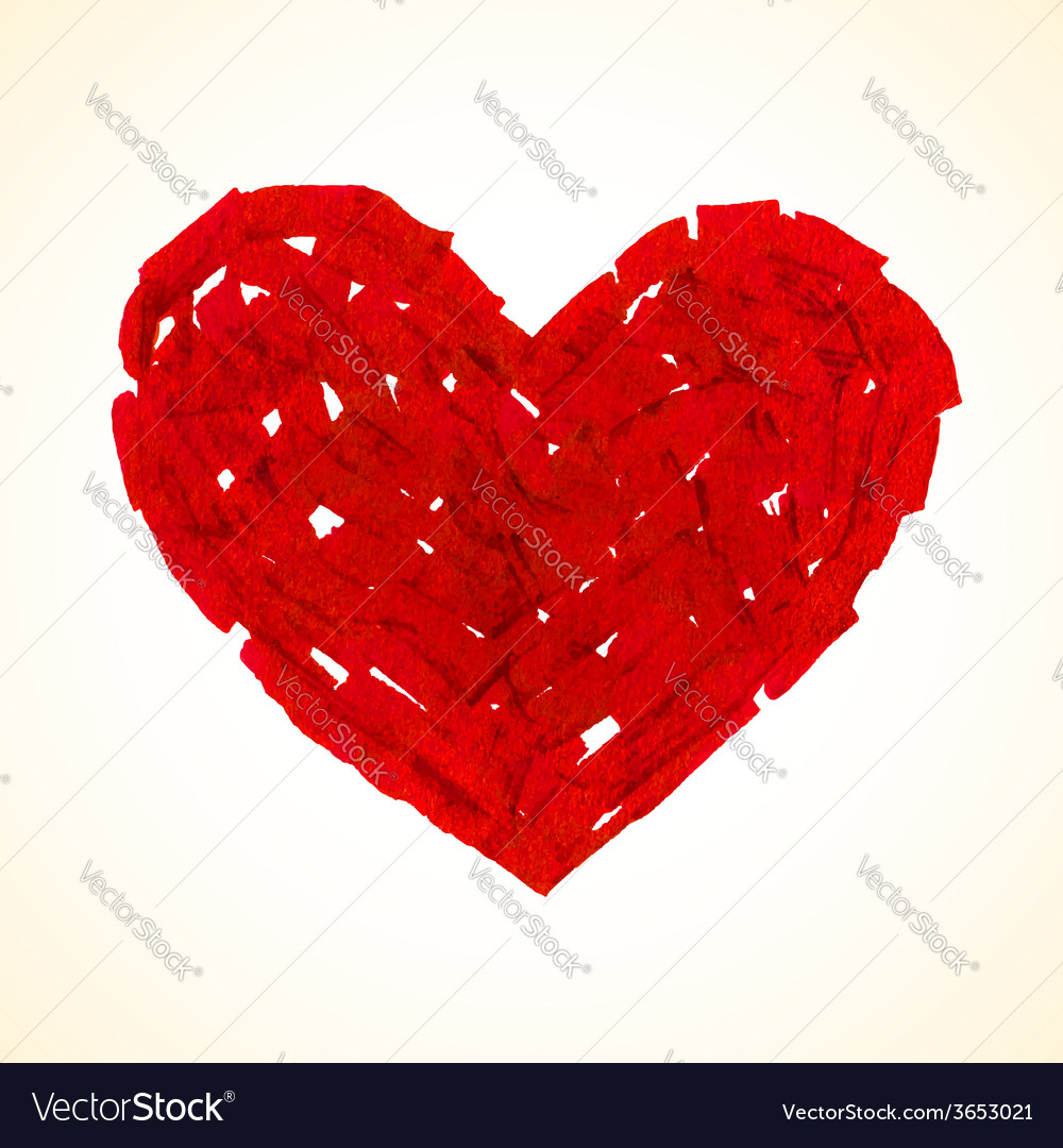 Red flat brush painted heart vector | Price: 1 Credit (USD $1)