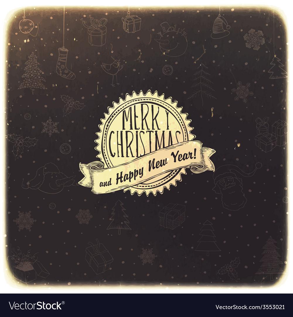 Retro christmas background golden vector | Price: 1 Credit (USD $1)