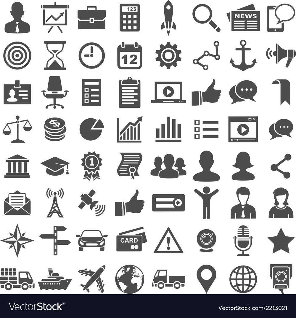 Universal icon set 64 icons vector | Price: 1 Credit (USD $1)