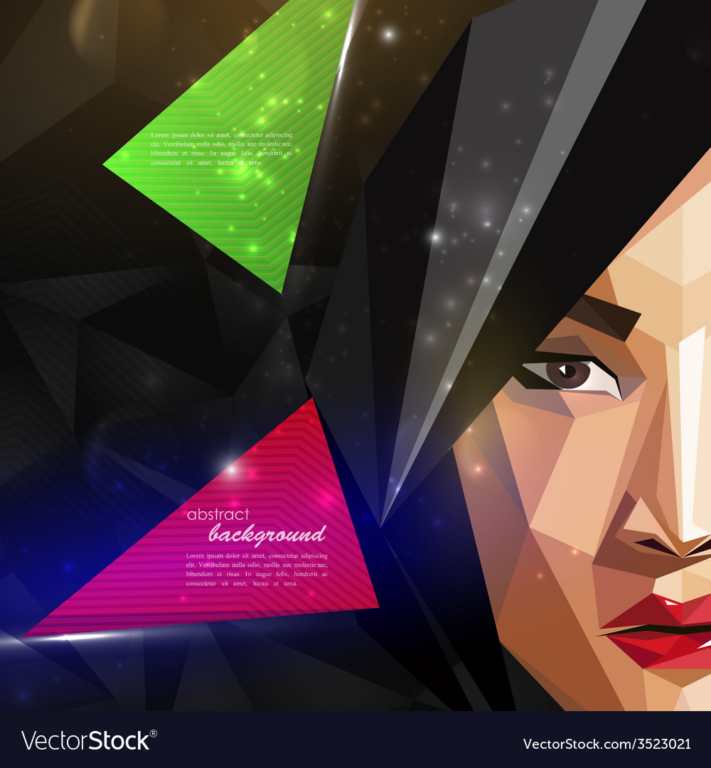With an asian woman face in polygonal style modern vector | Price: 1 Credit (USD $1)