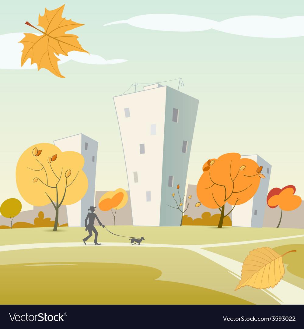 Autumn city vector | Price: 1 Credit (USD $1)