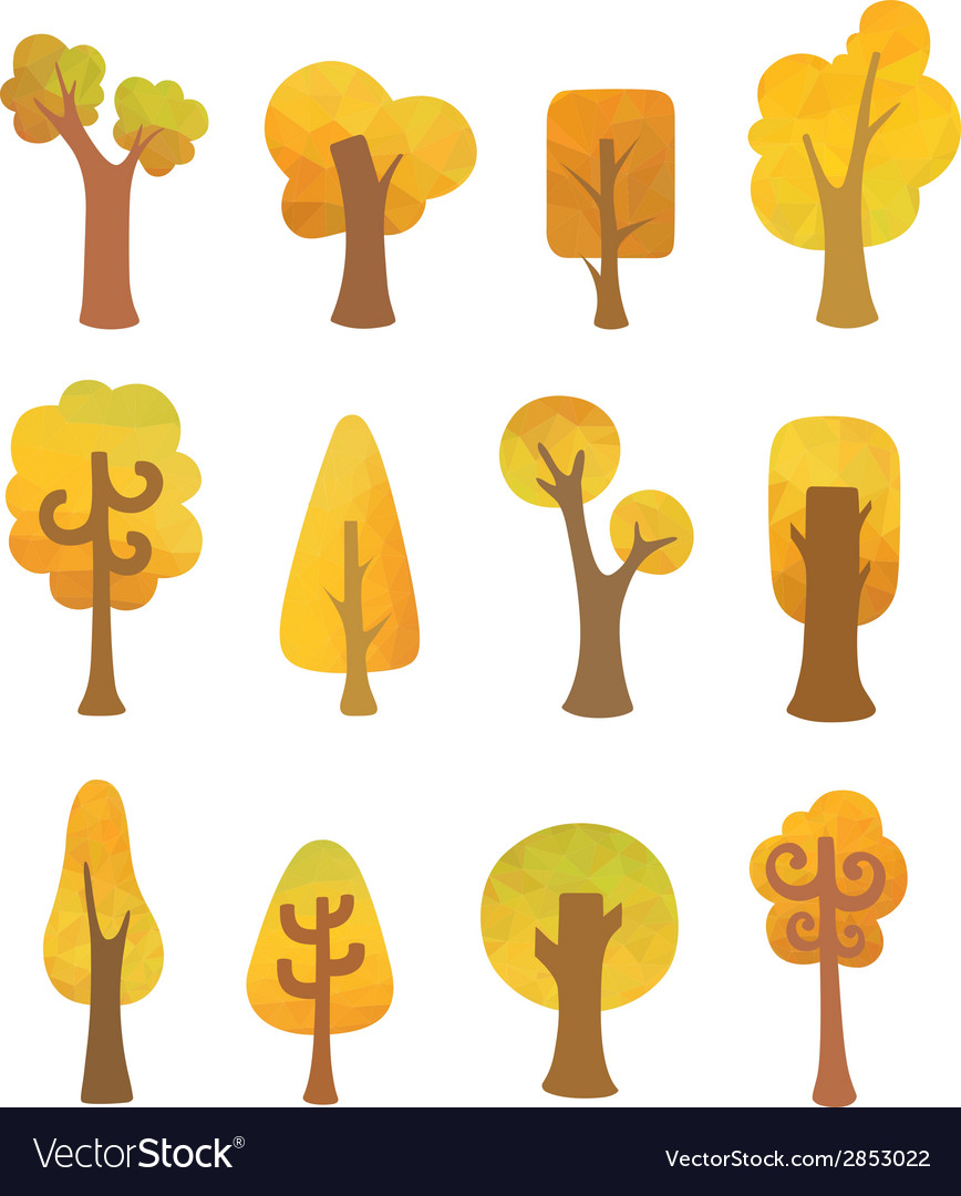 Autumn geometric trees vector | Price: 1 Credit (USD $1)