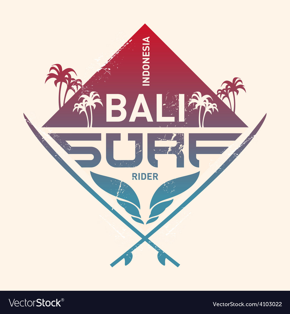 Bali surf rider indonesia surfing vintage label vector | Price: 1 Credit (USD $1)