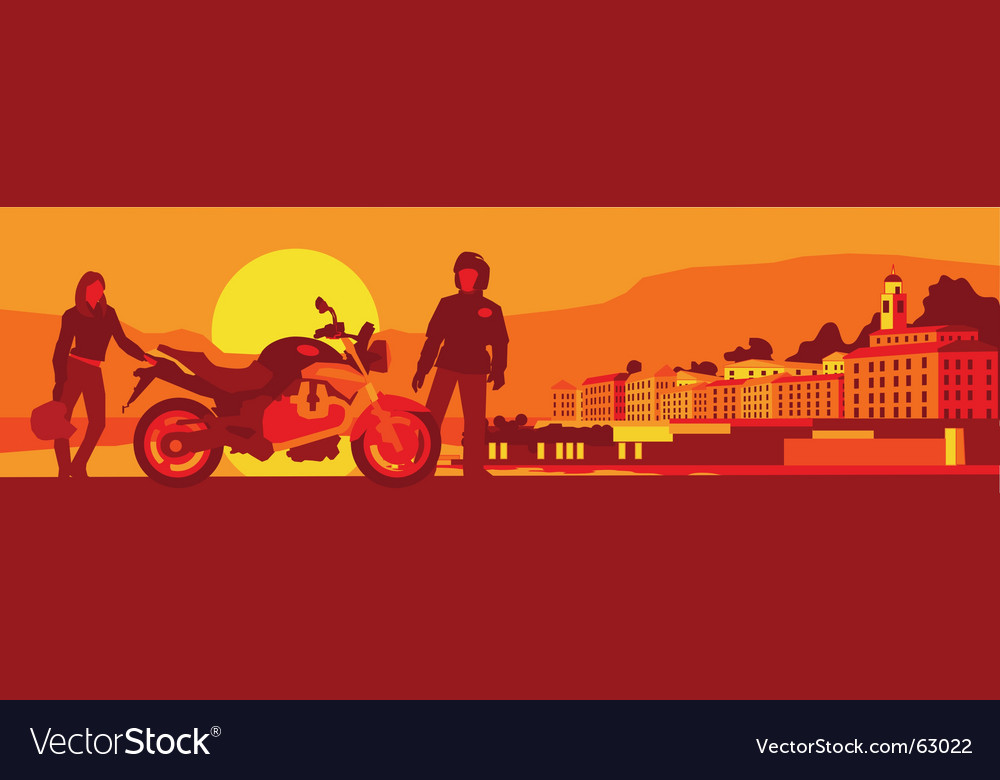 Biker's sunset break vector | Price: 1 Credit (USD $1)