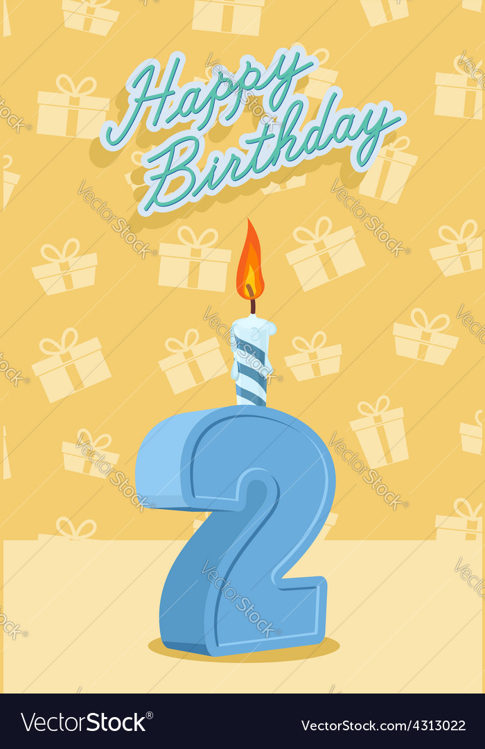 Birthday candle number 2 with flame vector | Price: 1 Credit (USD $1)