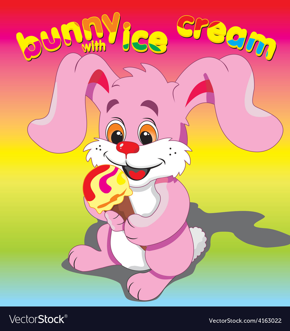 Bunny ice cream pink vector | Price: 3 Credit (USD $3)