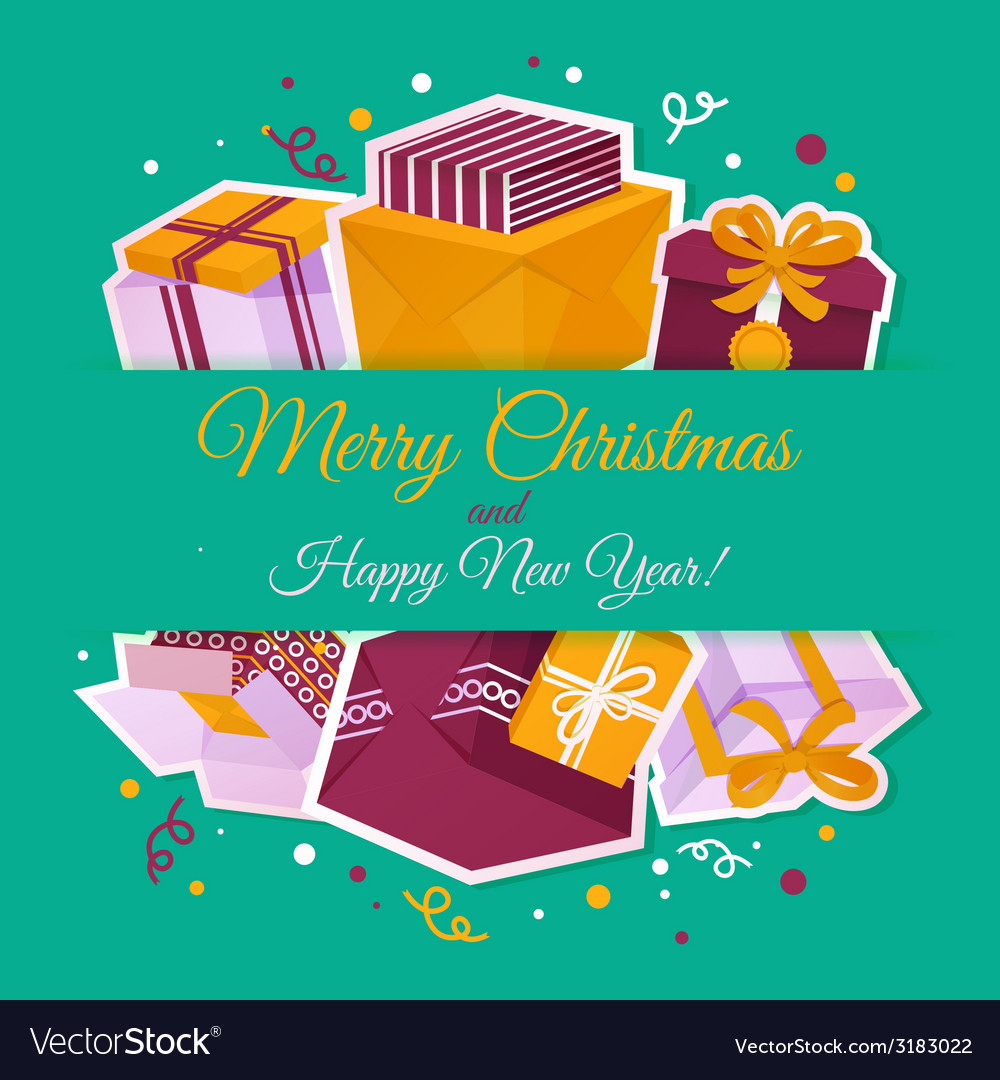 Christmas card with gift boxes vector | Price: 1 Credit (USD $1)