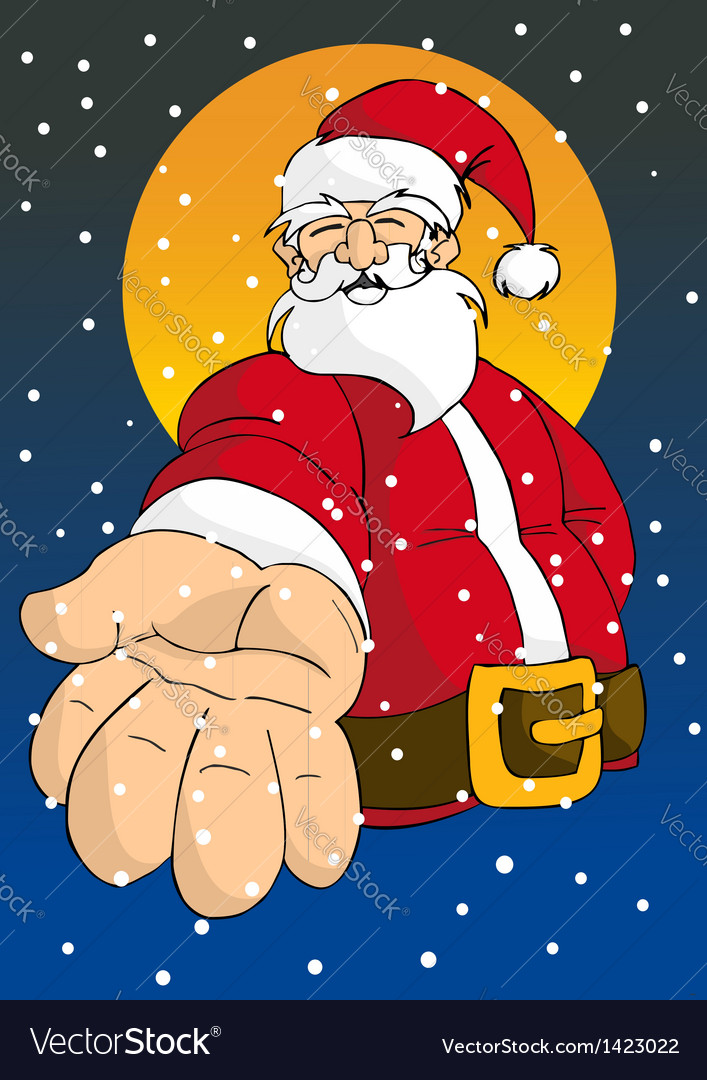 Christmas series happy santa giving hand vector | Price: 3 Credit (USD $3)