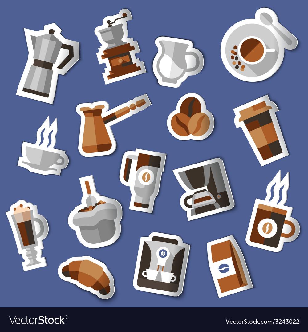 Coffee stickers set vector | Price: 1 Credit (USD $1)