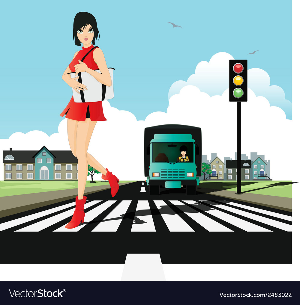Crosswalk and traffic signals vector | Price: 1 Credit (USD $1)