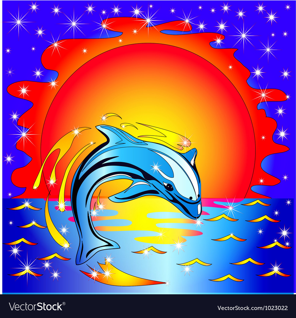 Dolphin sunset background vector | Price: 1 Credit (USD $1)