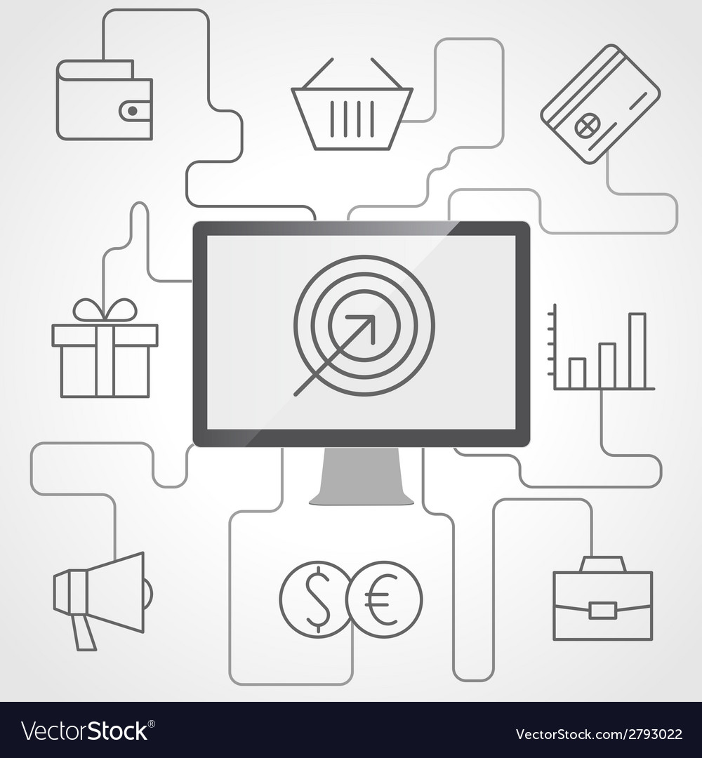 E-commerce and business infographics with computer vector | Price: 1 Credit (USD $1)