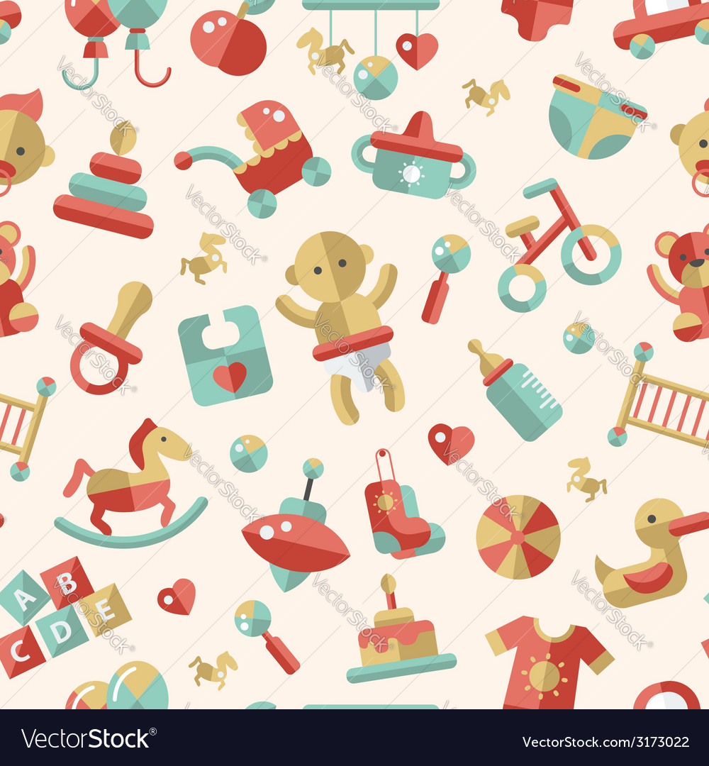 Flat design cute baby pattern with icons vector | Price: 1 Credit (USD $1)