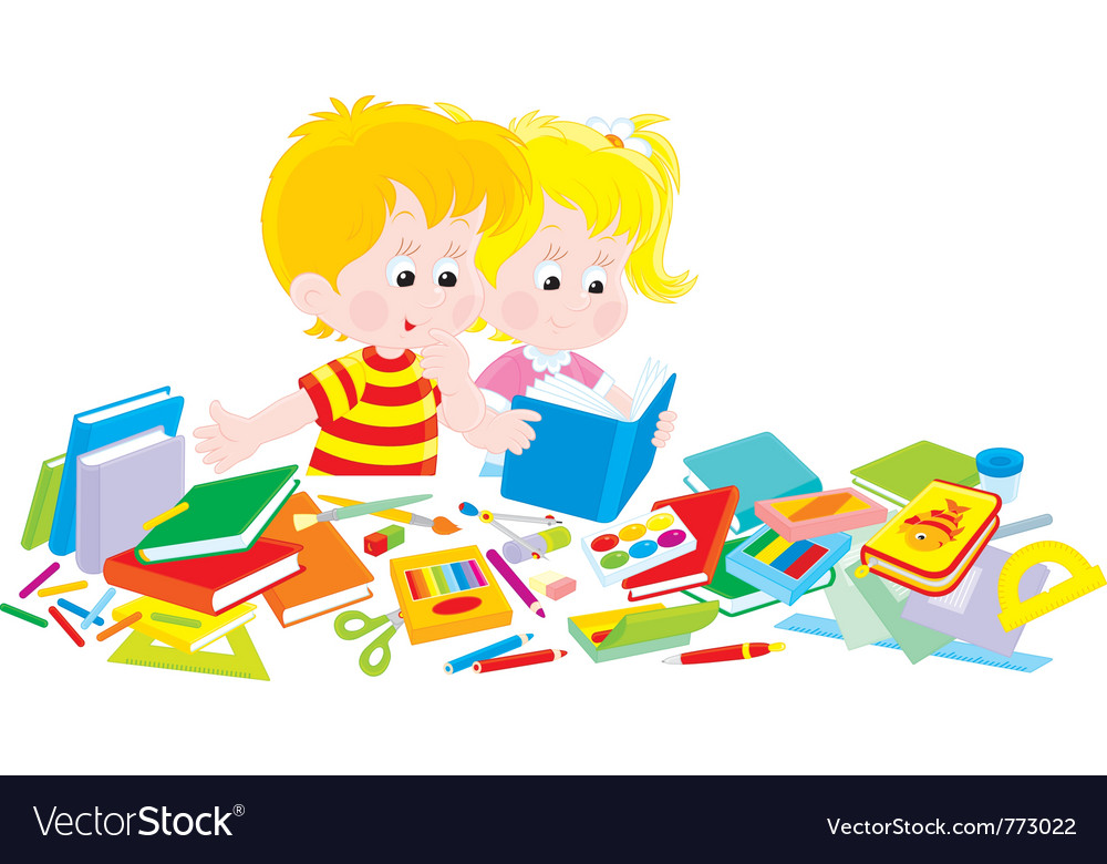 Girl and boy with a set of firstgraders vector