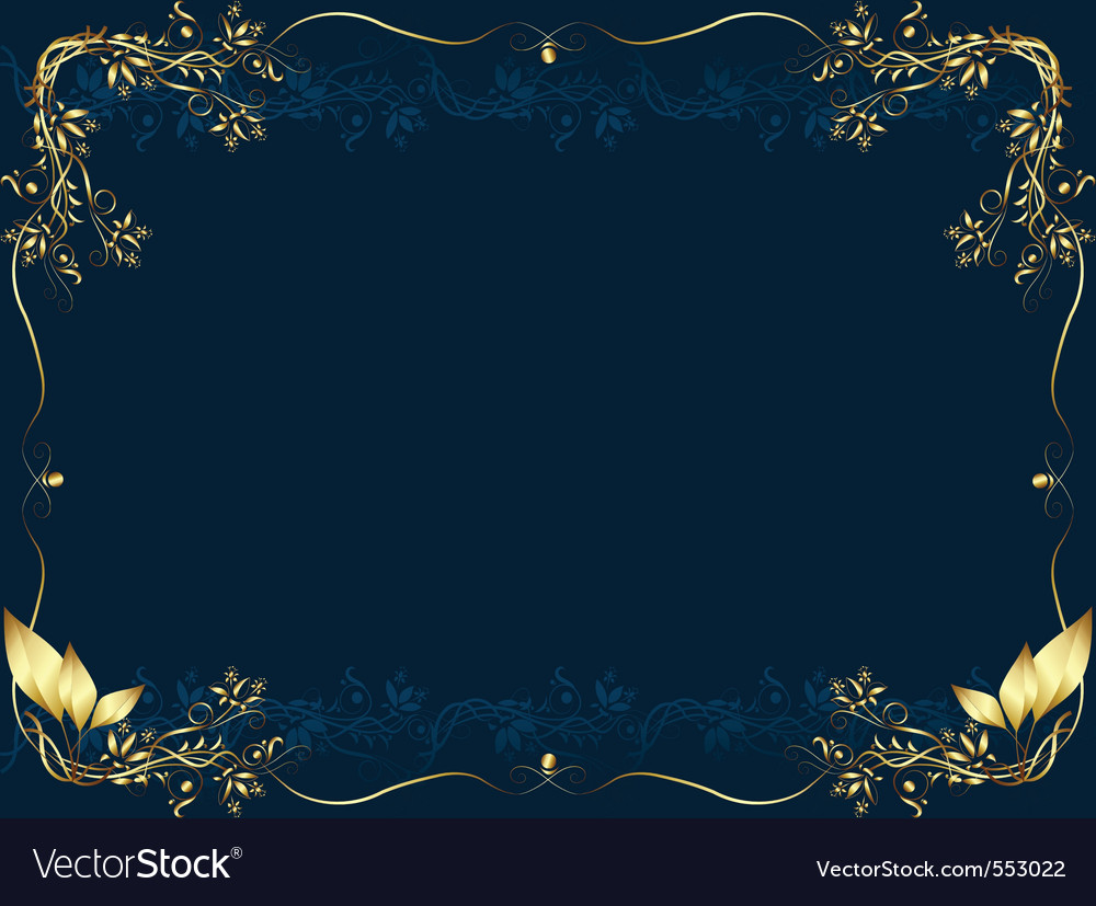 Gold frame on a dark bue background from vegetable vector | Price: 1 Credit (USD $1)