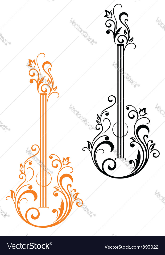 Guitar with floral embellishments vector | Price: 1 Credit (USD $1)