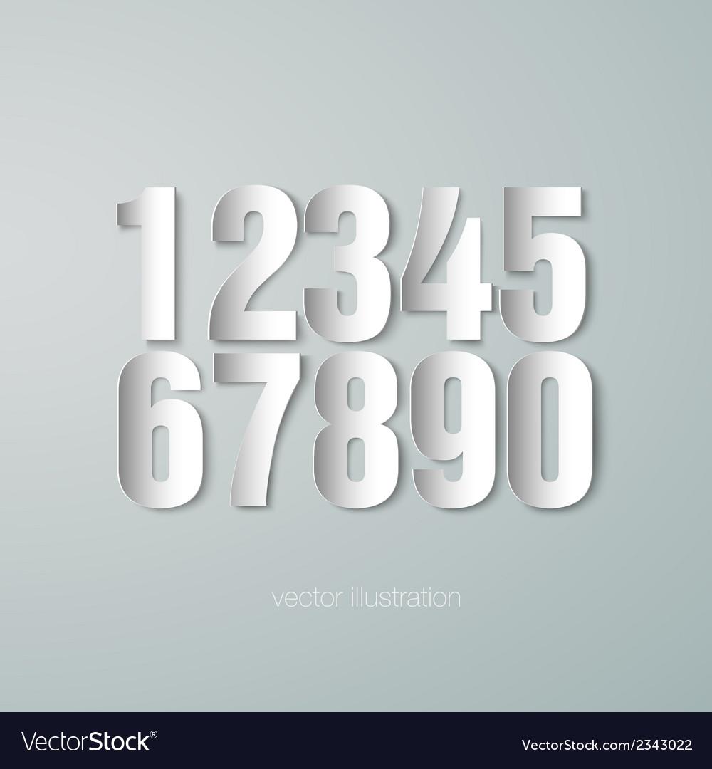 Set of paper numerals vector | Price: 1 Credit (USD $1)