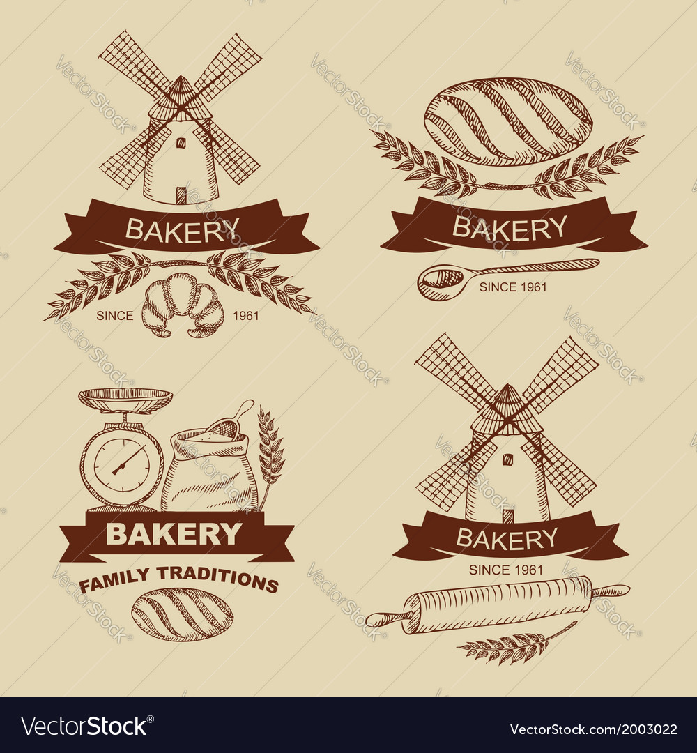 Set of vintage bakery badges and labels vector | Price: 1 Credit (USD $1)