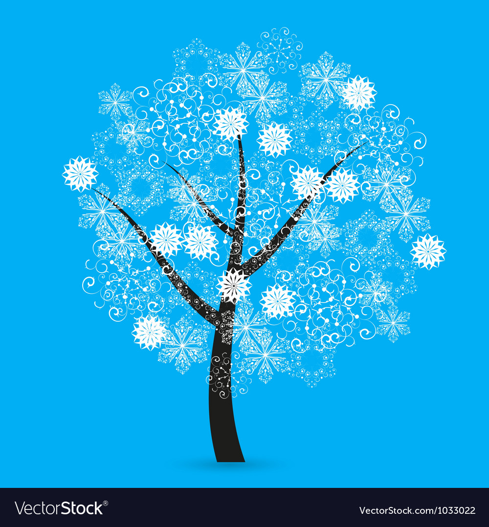 Snowflakes tree vector | Price: 1 Credit (USD $1)