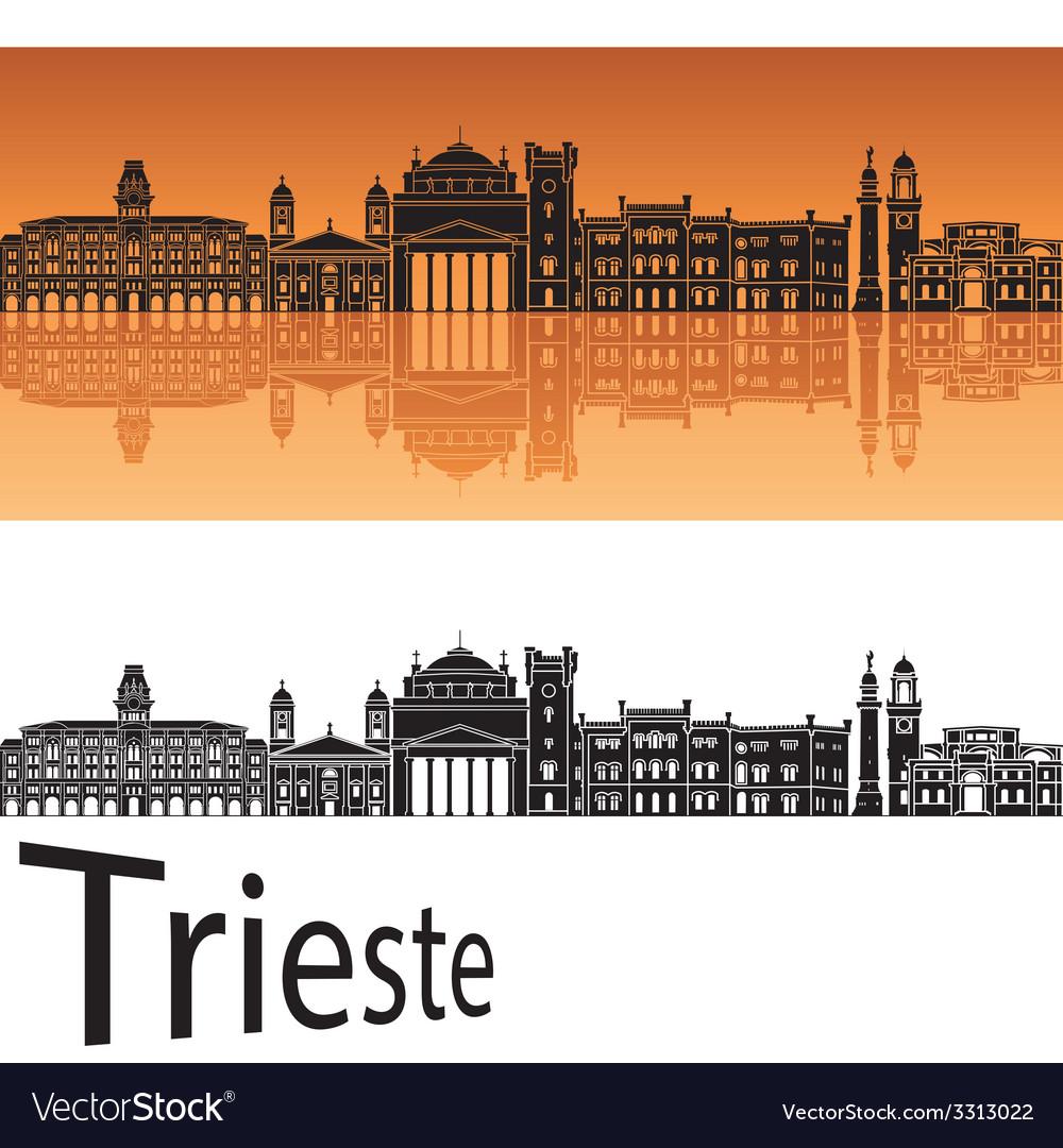 Trieste skyline in orange background vector | Price: 1 Credit (USD $1)