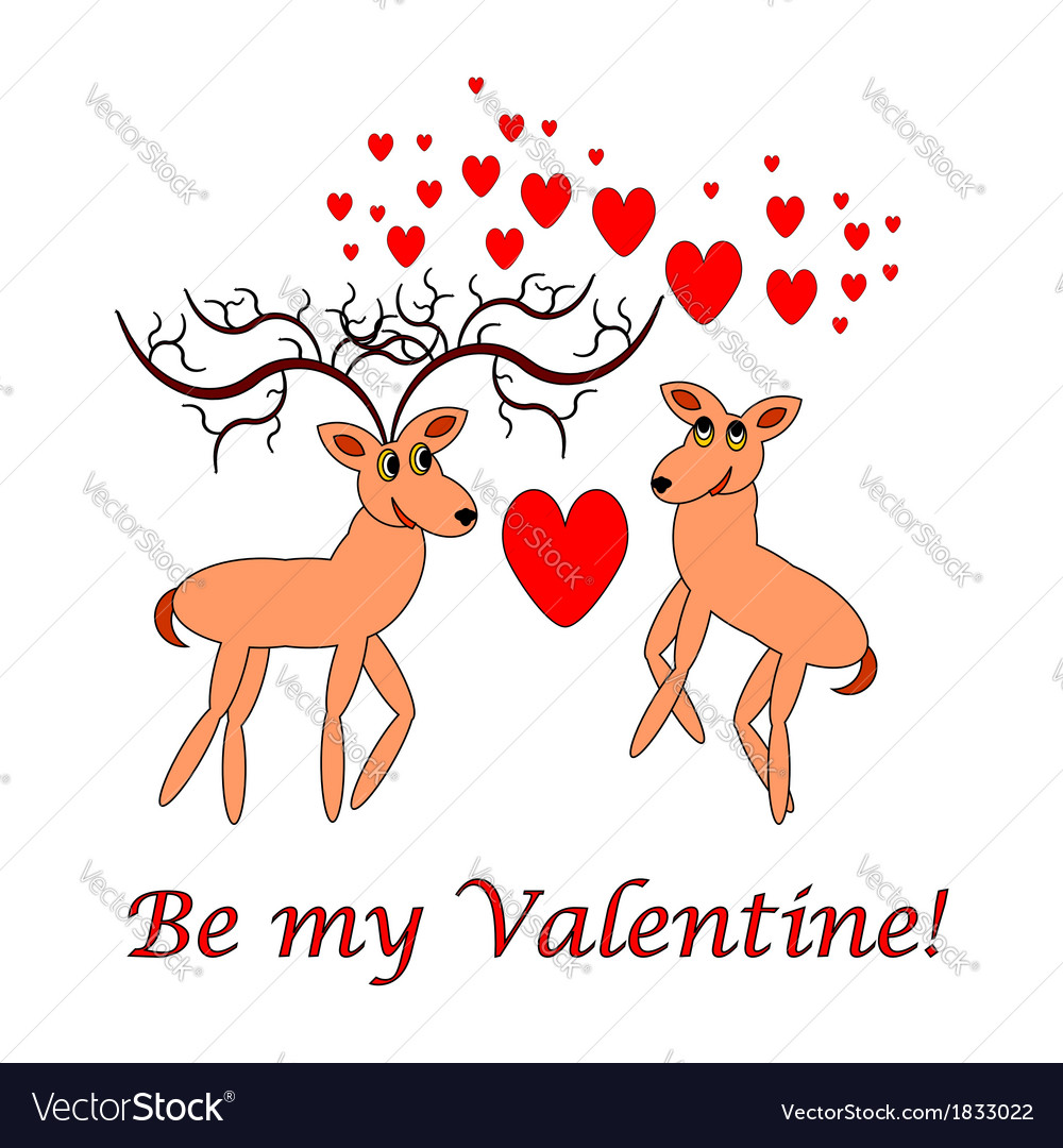 Two funny cartoon deer with words be my valentine vector | Price: 1 Credit (USD $1)