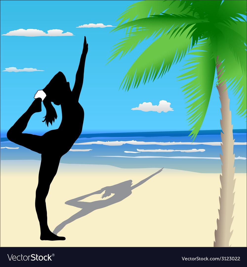 Yoga poses on the beach vector | Price: 1 Credit (USD $1)