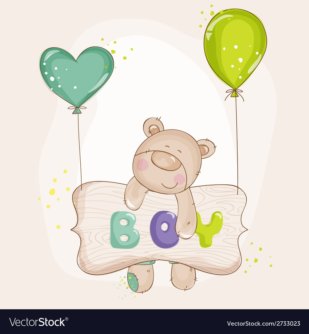 Baby bear with balloons - baby shower vector | Price: 1 Credit (USD $1)