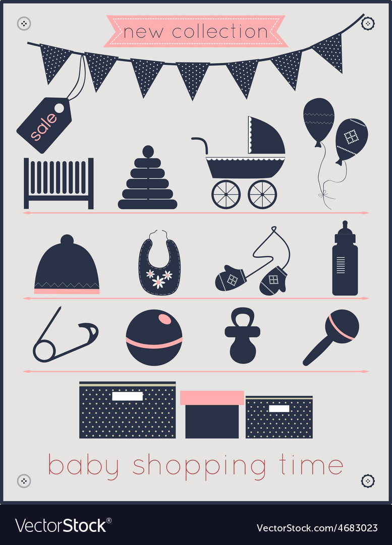 Baby shopping time vector   Price: 1 Credit (USD $1)