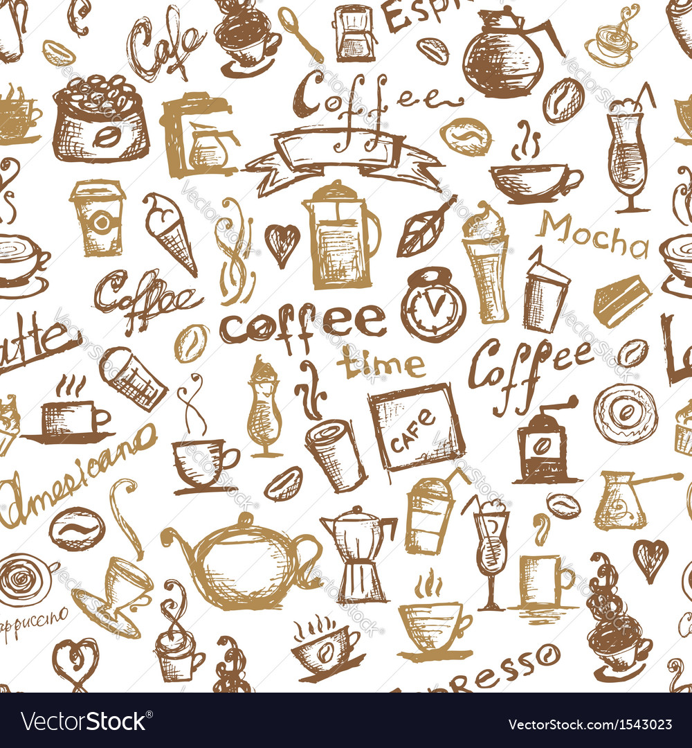 Coffee time seamless background for your design vector | Price: 1 Credit (USD $1)