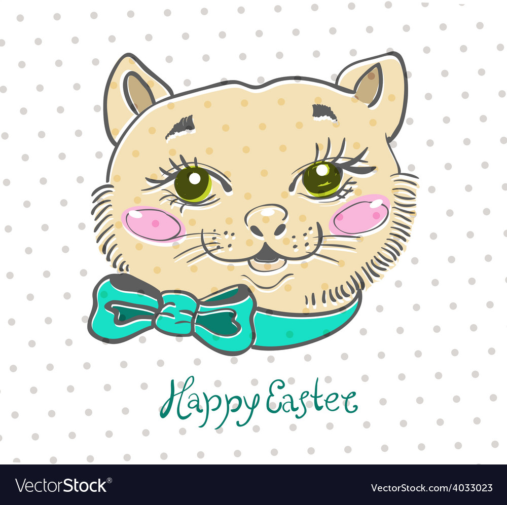 Easter card with cat and flowers vector | Price: 1 Credit (USD $1)