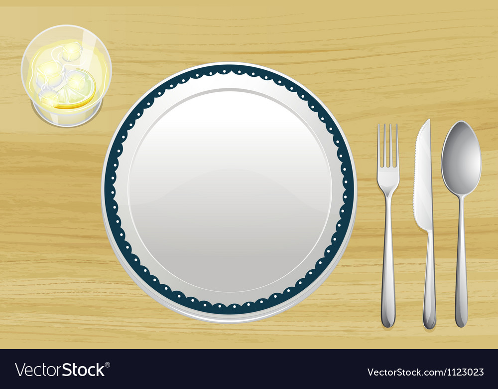 Empty plate and a bowl of lemonade vector | Price: 1 Credit (USD $1)